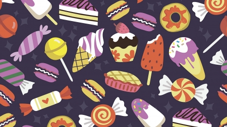Texture - cake, pattern, candy, lolipop, brown, ice cream, yellow, swerts, purple, texture, maria lubimova, pie, paper