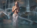 Sensual Woman at a Waterfall
