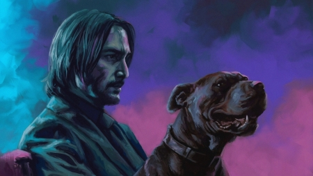 John Wick . . - fantasy, Keanu Reeves, entertainment, John Wick, movies, digital art, actors, dogs