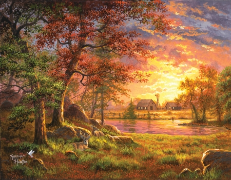 A Place to Call Home - deer, artwork, cabin, sunset, clouds, sky, trees, barn, pond, shades, painting