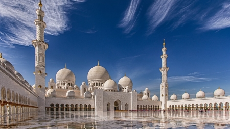 Grand Mosque Abu Dhabi - religion, sky, mosque, building, minarets, domes