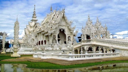 The White Temple (Wat Rong Khun) - temple, religion, white, thailand