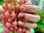 Peach Nails and Flowers