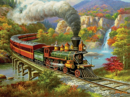 Fall River - locomotive, train, bridge, mountains, painting, steam, railways, artwork