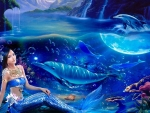 Mermaid With Dolphins