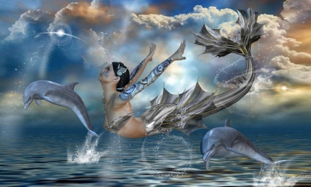 Futuristic Mermaid - dolphins, Mermaid, ocean, futuristic, sea, playing, lovely, dreamy, modern, magical, mythical