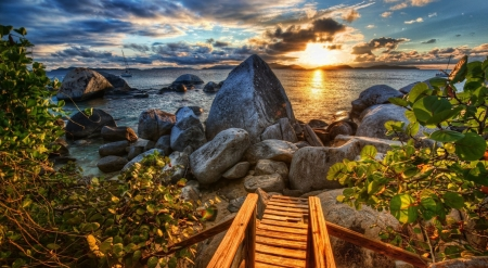 Rocky Shore - ocean, nature, sunset, sky, clouds, rocks, shore, hd, wooden stairs, trees, boats