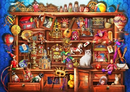 Ye Old Shoppe - nutcracker, balloon, radio, instruments, clock, cats, artwork, toys, digital