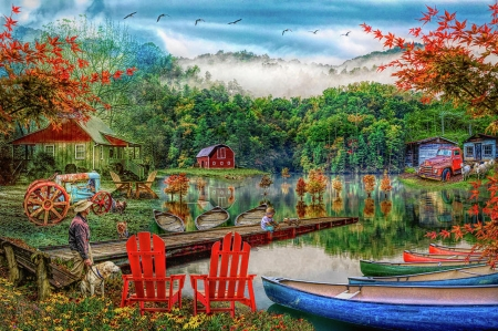 A Peaceful Country Evening - pick up, chairs, canoes, truck, lake, tractor, autumn, water, jetty, dogs