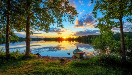 River Oulujoki sunset - forest, boat, serenity, summer, beautiful, river, sunset, reflection