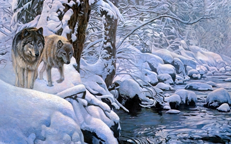 Wolves - art, terry isaac, lup, wolf, river, pictura, winter, iarna, panting