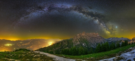 Milky-way - Mountains, Forest, Panorama, Night