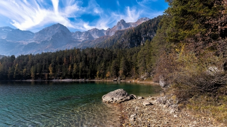 Beautiful Lake Shore - Rocks, Nature, Mountains, Shore, Trees, Forests, Lakes