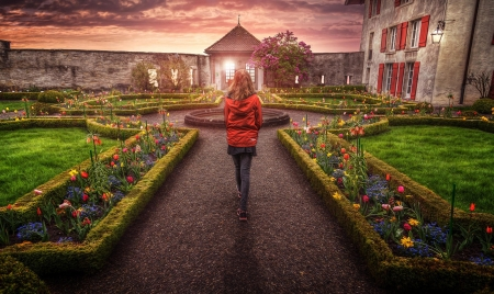Girl in Castle Garden