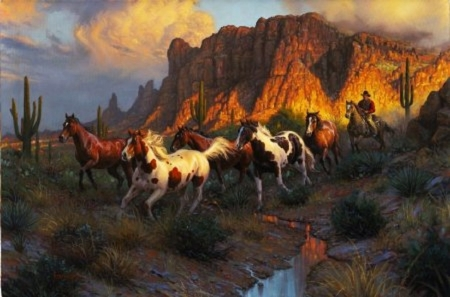 wild horses hunting - hunting, wild, horses, animals, painting