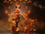 Lady in Autumn Leaves