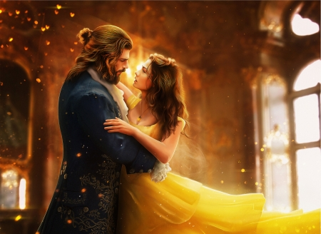 Beauty and the Beast - princess, can, beauty and the beast, luminos, sanem, yellow, belle, man, hosne qanadelo, fantasy, girl, dance, disney