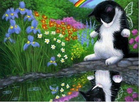 Who's That ?? - pond, painting, flowers, garden, mirror, funny, cat, artwork