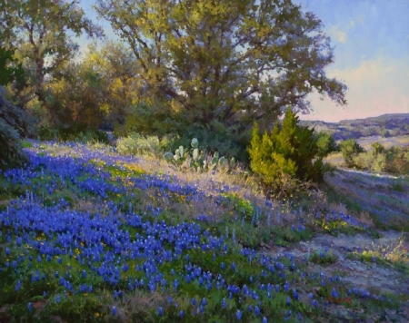 wild blue flowers - flowers, nature, wild, blue, painting