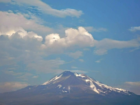 Mount Shasta California - mountain, sky, clouds, volcano, lemurians