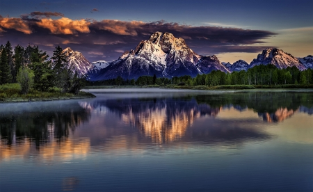 Grand Tetons - reflections, wyoming, water, river, clouds, sky