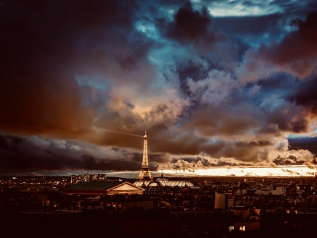 Eiffel Tower at Dusk - dusk, paris, sky, eiffel tower, sunset