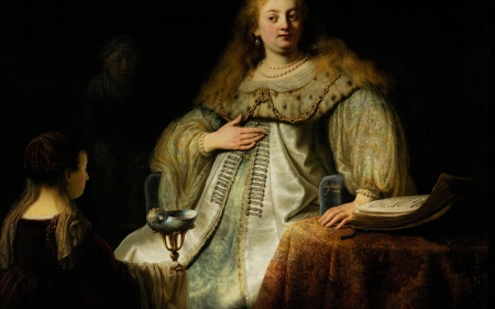 Artemis - goddess, art, artemis, painting, rembrandt, woman, pictura