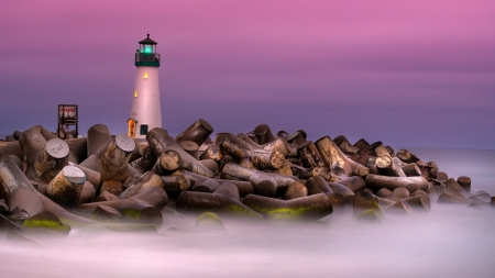 Watchtower - hd, fog, lighthouse, logs, clouds, sky