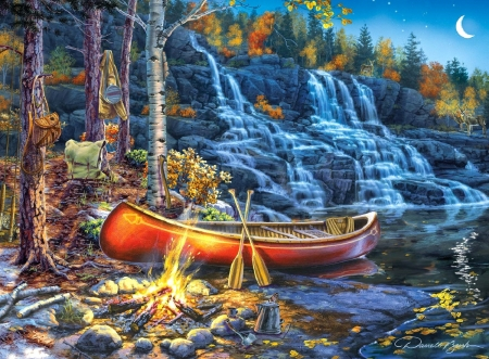 Waterfall Night - forests, attractions in dreams, nature, canoe, waterfalls, fall season, autumn, love four seasons, campfire, leaves, paintings, mountains