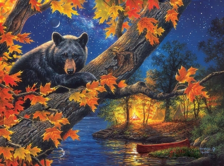 Bear Camp - colorful, fall season, lakes, autumn, campfire, love four seasons, canoe, attractions in dreams, paintings, leaves, landscapes, bears, nature