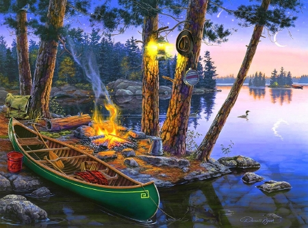 Summer Tranquility - paintings, lakes, love four seasons, summer, attractions in dreams, nature, forests, canoe, landscapes