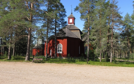 Lutheran Church in Northern Finland - Religious, Nature, Architecture, Churches, Trees, Landscape