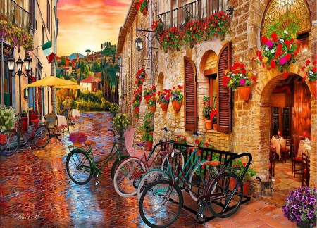 Biking Tuscany - street, houses, digital, village, flowers, bicycles, artwork