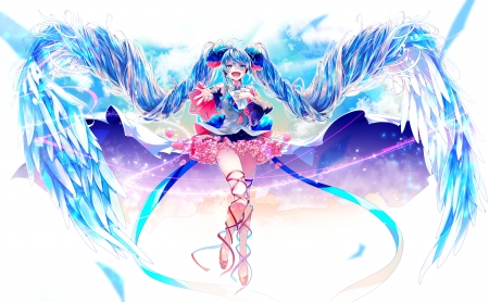 Hatsune Mike - anime, angel, blur, shirayuki towa, pink, blue, vocaloid, wings, hatsune miku, manga, girl