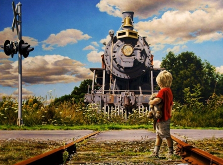 Lost and Found - photograph, steam engine, rails, vintage, tracks