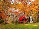 old mill in the fall season