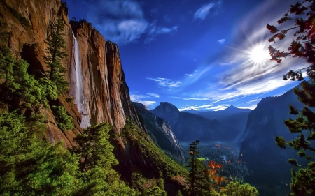 Yosemite with Forest Fire - sky, valley, mountains, waterfall, trees, clouds