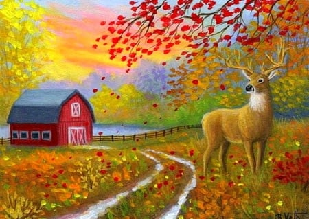 Autumn Fields - nature, fields, deer, fall season, autumn, love four seasons, farms, colors, leaves, paintings, landscapes