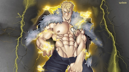 Laxus Dreyar - muscle, lightning, coat, tattoo, laxus, suyohara