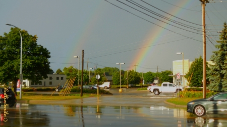 A Double Birthday Rainbow - trees, reflections, automobiles, co1orful, buildings, rainbow, wires, skies, cars, rainbows, double rainbow, natura1, Traffic Signals nSigns