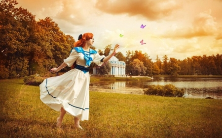 Butterflies are Free - pond, house, girl, butterflies, trees, clouds, sky, vintage