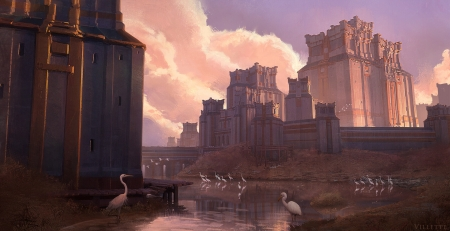 City entrance - water, fantasy, bird, crane, pasari, castle, art, cloud, luminos, karine villette