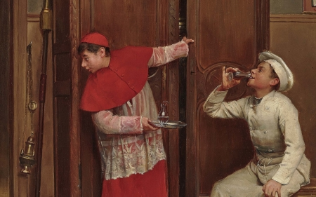 Secret tasting - art, red, boy, brown, funny, pictura, paul chocarne moreau, couple, panting