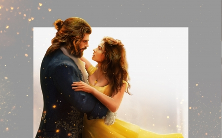 Beauty and the Beast - yellow, man, hosne qanadelo, sanem and can, couple, beauty and the beast, luminos, belle, fantasy, girl, princess