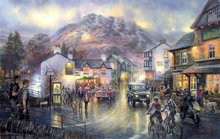 Outside Out There Coniston - town, mountains, people, twilight, rain, night, street, artwork, cars, painting