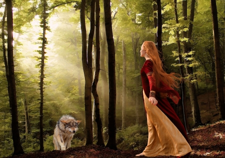 Meeting The Wolf - girl, art, forest, predator, sunrays, digital, twilight