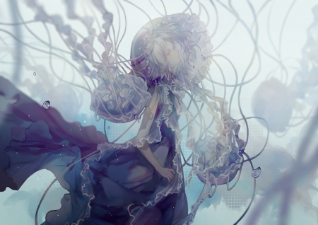Jellyfish - water, girl, medusa, anime, manga, cui, jellyfish, underwater, vara, summer