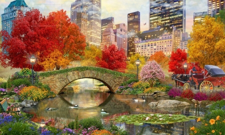 Autumn in Central Park, New York - buildings, Autumn, skyscaper, outdoors, new york, scenic, trees, Horse and buggy, water, bridge, central park