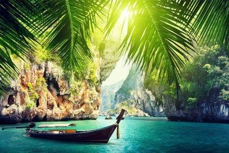 The exotic Malaysia - swim, beautiful, rocks, rest, exotic, vacation, Malaysia, palms, water, boat, rays, island