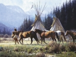 Indian horses and tipis